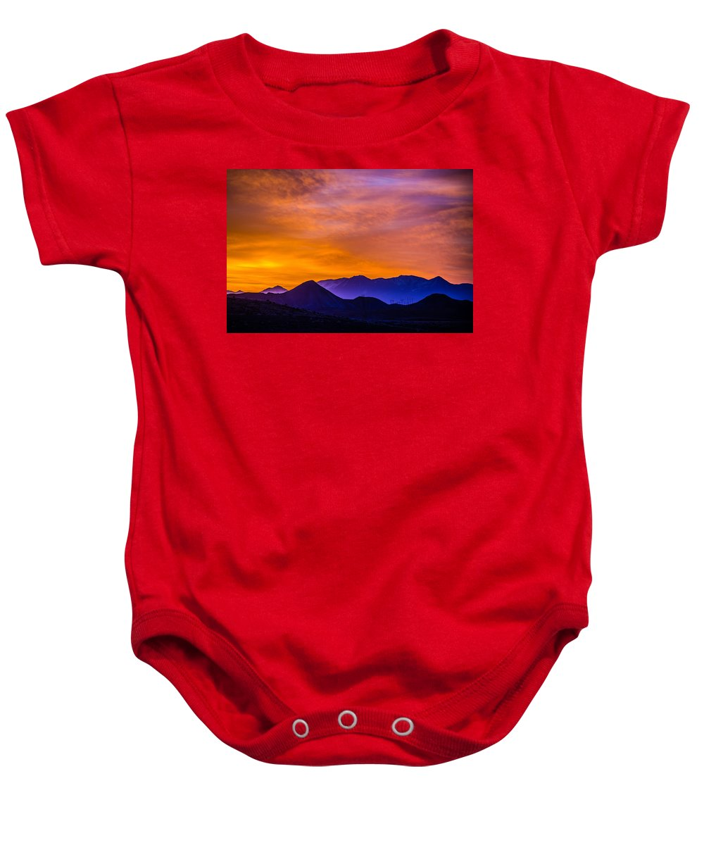Colorado Baby Onesie featuring the photograph Sunrise Over Colorado Rocky Mountains by Alex Grichenko