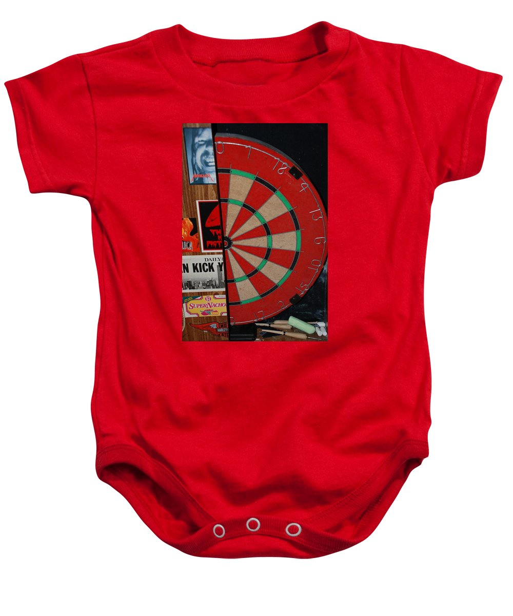 Macro Baby Onesie featuring the photograph The Dart Board by Rob Hans