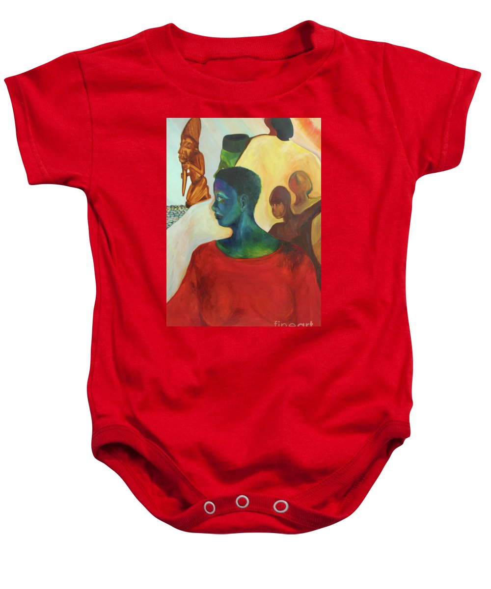 Oil Painting Baby Onesie featuring the painting Trickster by Daun Soden-Greene