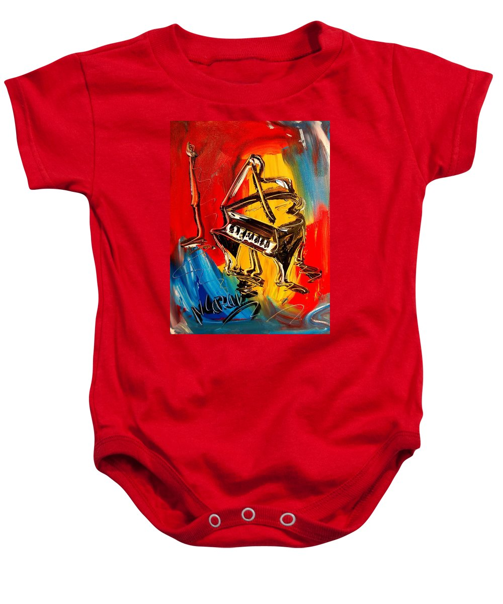 Music Jazz Piano Red Landscape Framed Prints Baby Onesie featuring the painting Piano by Mark Kazav