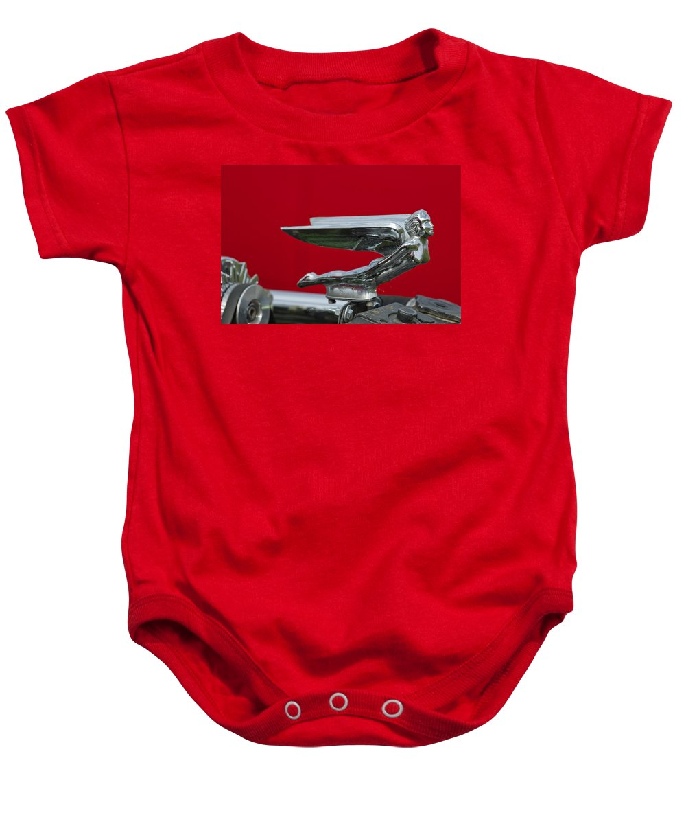 1924 Ford Baby Onesie featuring the photograph 1924 Ford Hood Ornament by Jill Reger