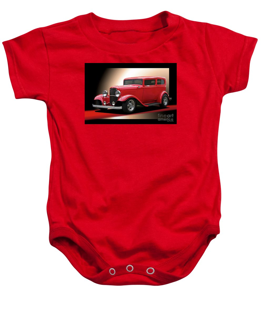 Hot Rod Key Words Baby Onesie featuring the photograph 1932 Ford 'cherry Bomb' Sedan by Dave Koontz