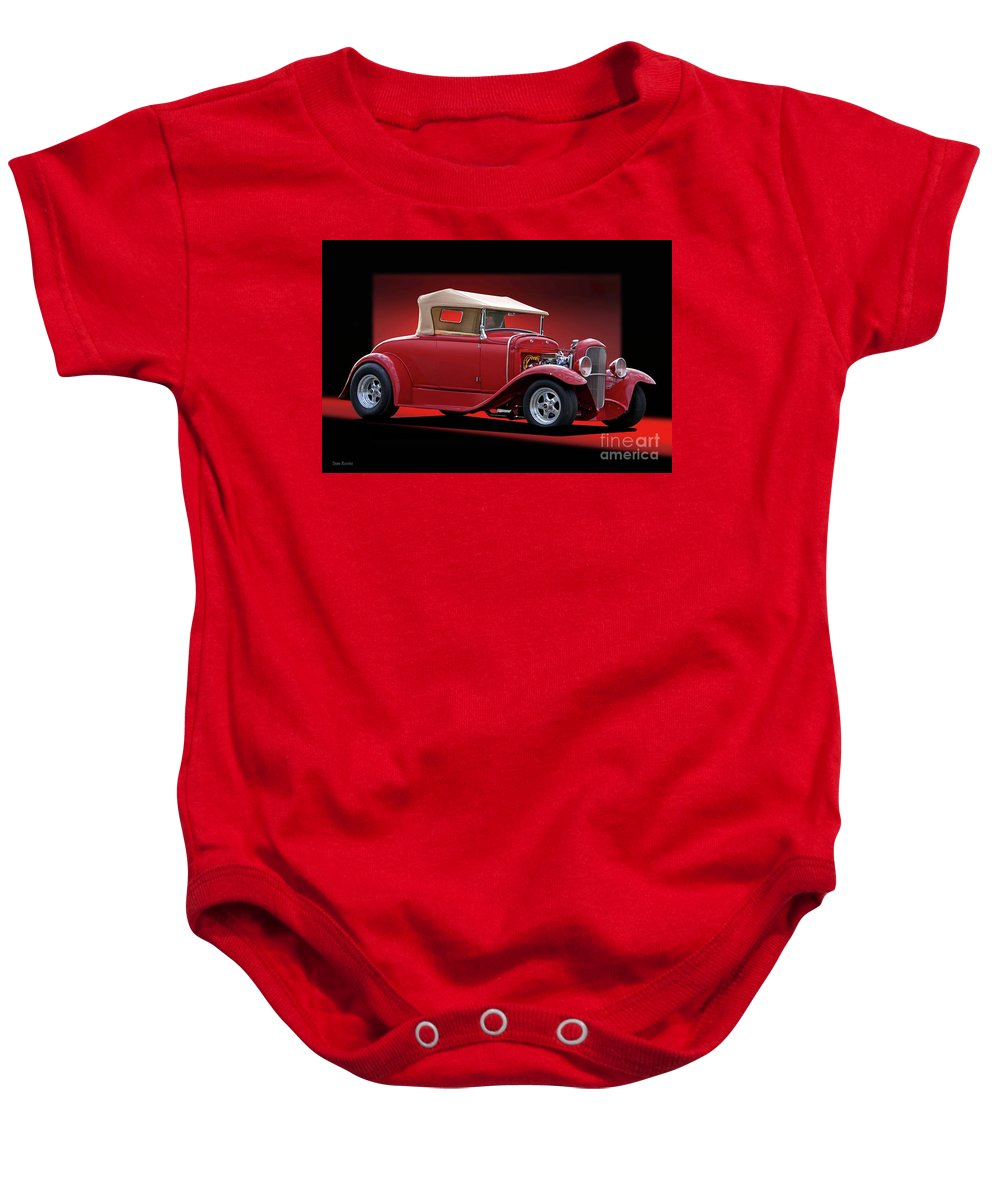 Hot Rod Key Words Baby Onesie featuring the photograph 1932 Ford 'rag Top' Roadster by Dave Koontz