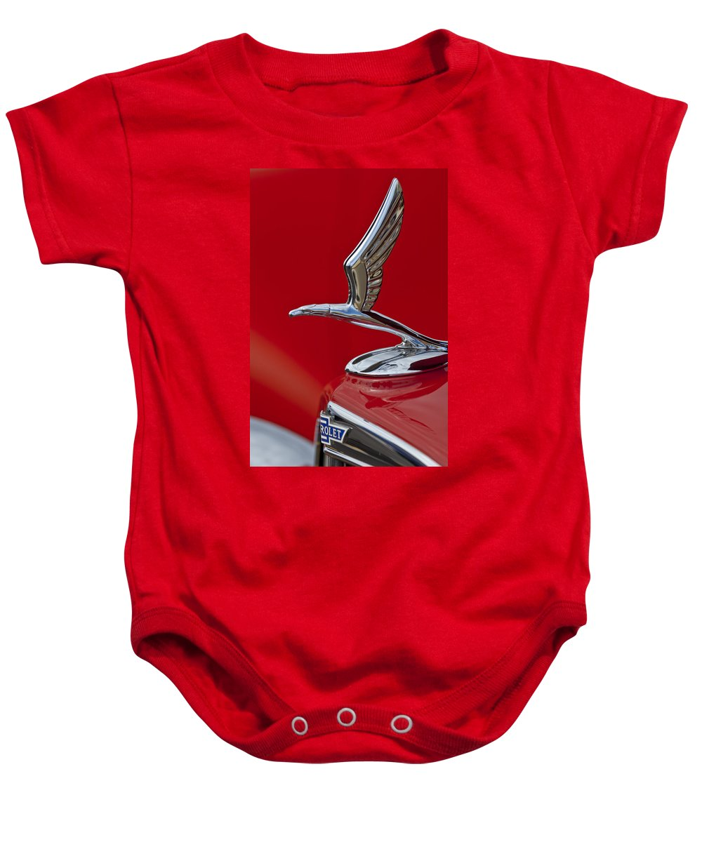 1933 Chevrolet Coupe Baby Onesie featuring the photograph 1933 Chevrolet Coupe Hood Ornament 2 by Jill Reger