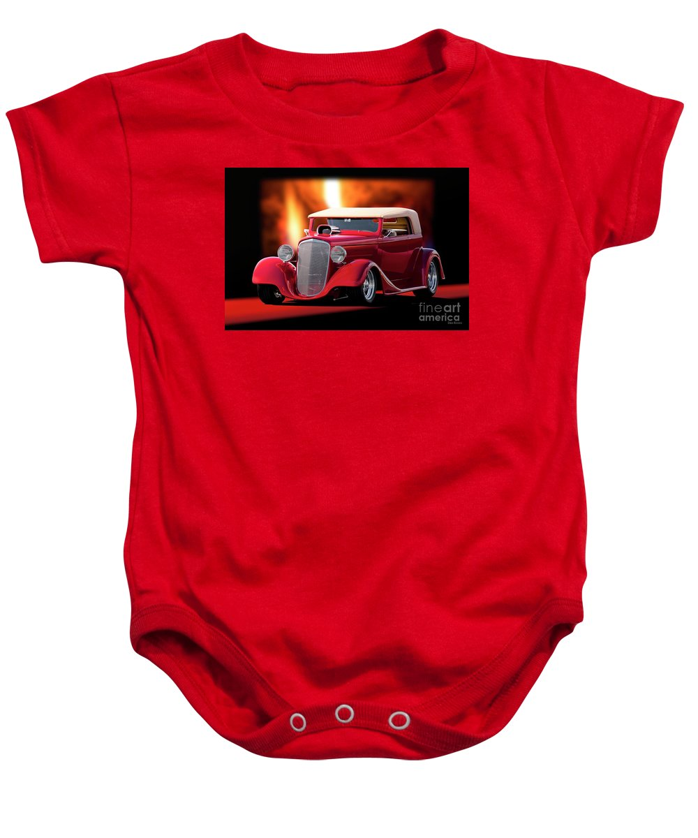 Hot Rod Key Words Baby Onesie featuring the photograph 1934 Chevrolet Phaeton Convertible by Dave Koontz
