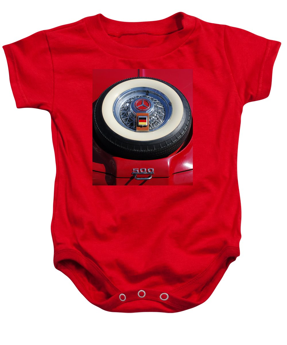 Car Baby Onesie featuring the photograph 1934 Mercedes Benz 500k Roadster 8 Spare Tire by Jill Reger
