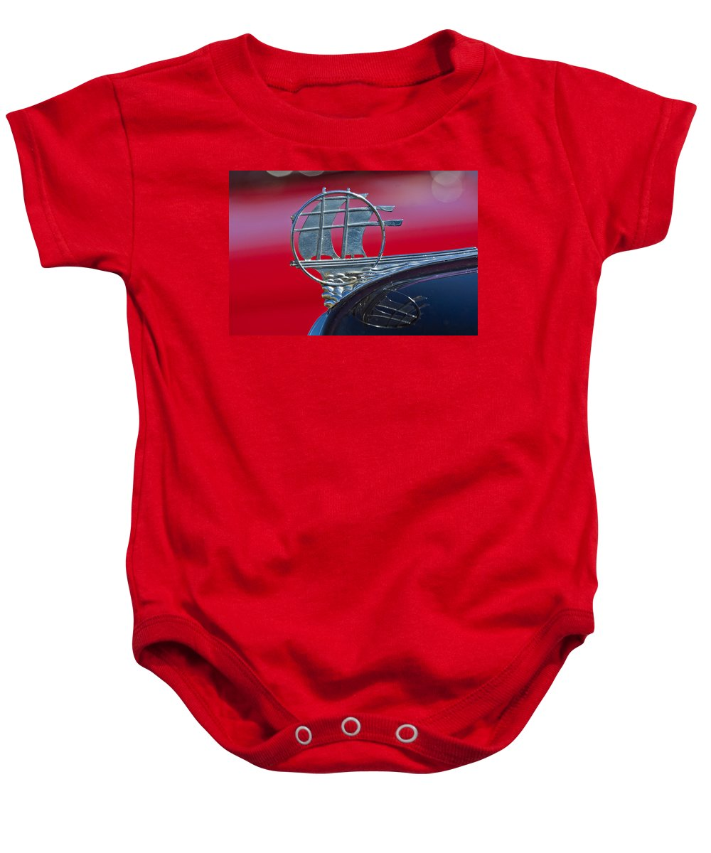 1934 Plymouth Baby Onesie featuring the photograph 1934 Plymouth Hood Ornament 2 by Jill Reger