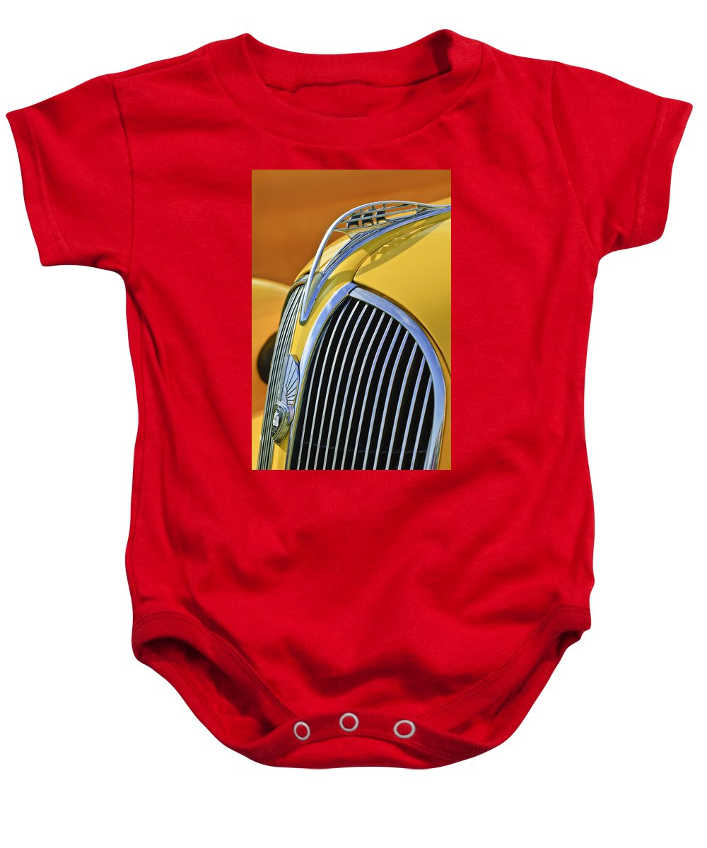 1937 Plymouth Baby Onesie featuring the photograph 1937 Plymouth Hood Ornament 2 by Jill Reger