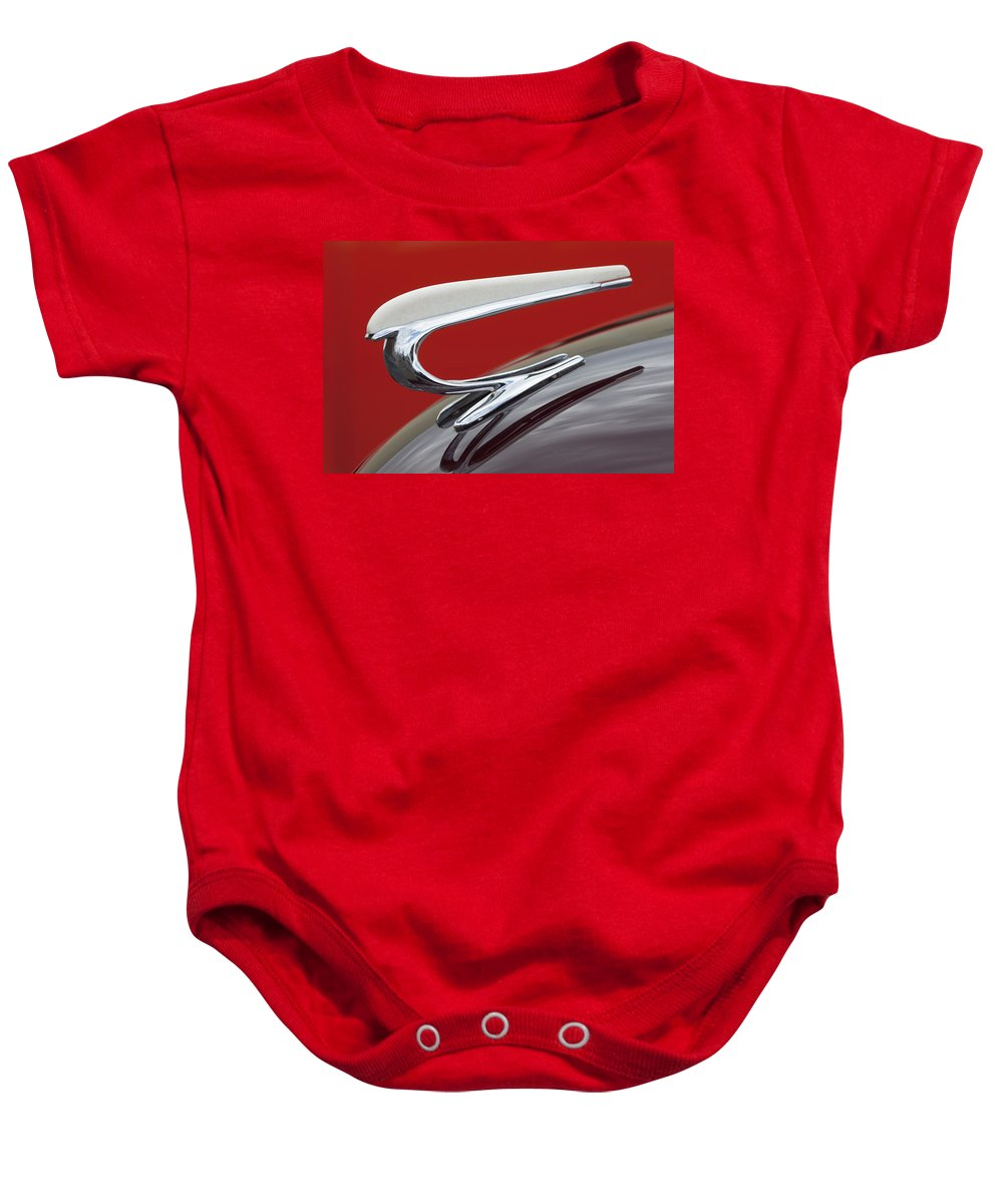 1938 Willys Baby Onesie featuring the photograph 1938 Willys Aftermarket Hood Ornament by Jill Reger