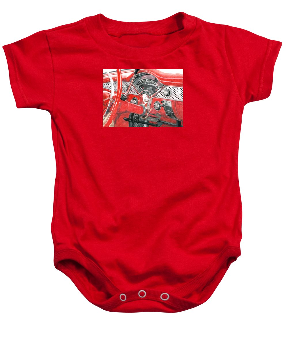 Classic Baby Onesie featuring the drawing 1955 Chevrolet Bel Air by Rob De Vries