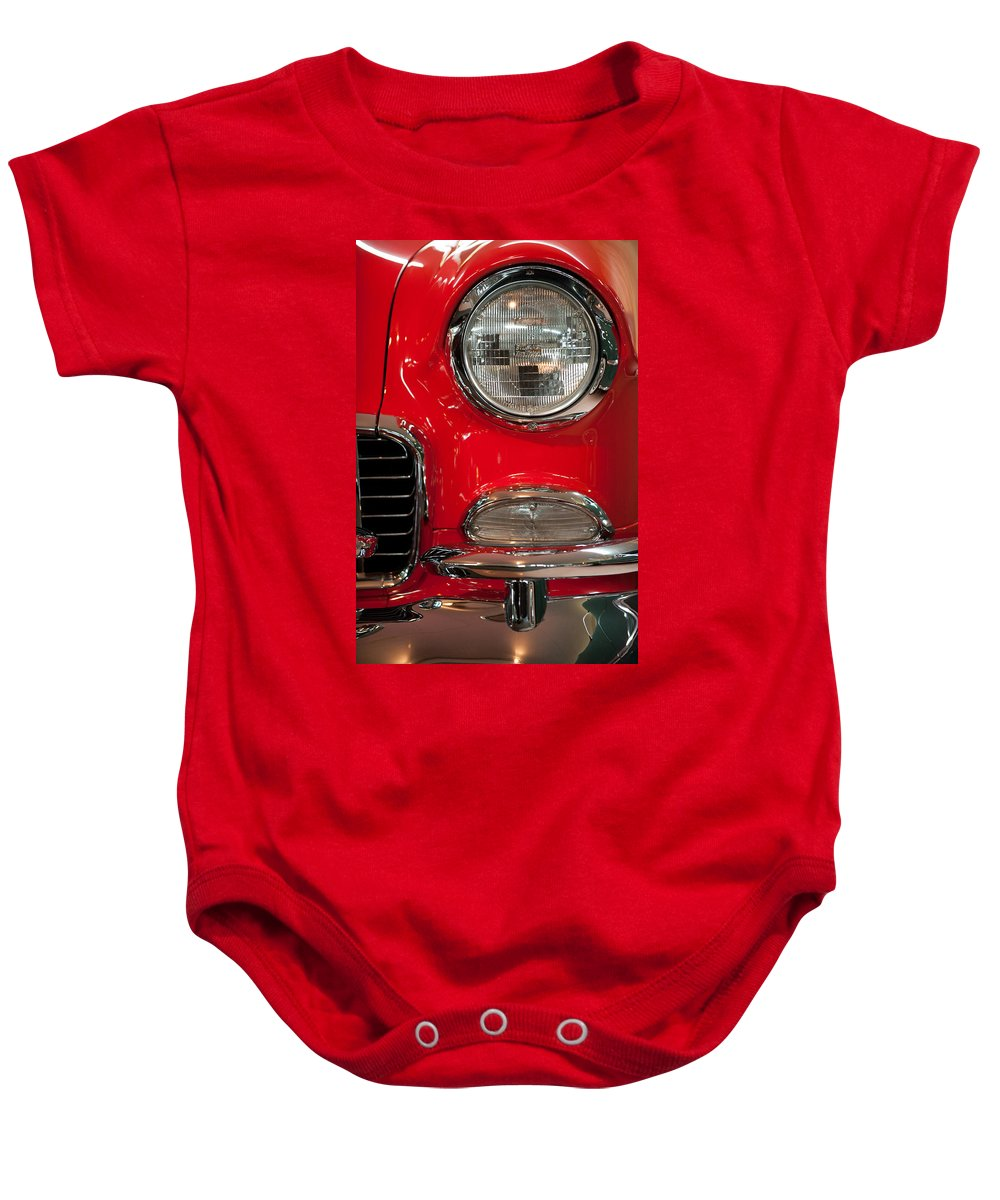 1955 Bel Air Baby Onesie featuring the photograph 1955 Chevy Bel Air Headlight by Sebastian Musial