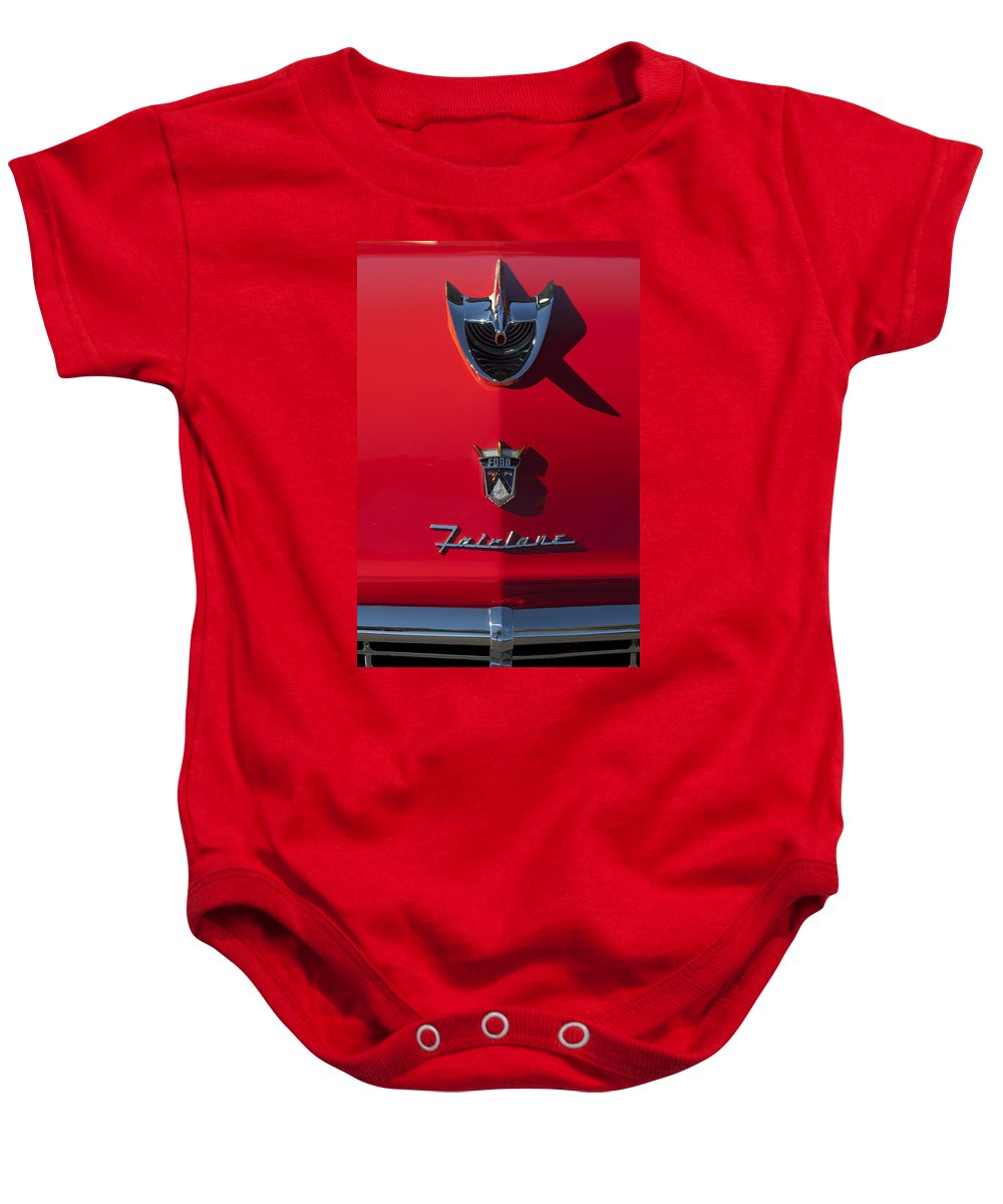 1956 Ford Fairlane Baby Onesie featuring the photograph 1956 Ford Fairlane Hood Ornament 2 by Jill Reger