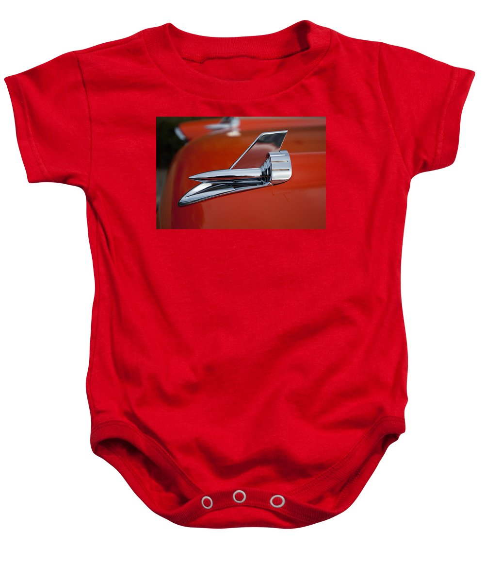 1957 Chevrolet Baby Onesie featuring the photograph 1957 Chevrolet Hood Ornament by Jill Reger