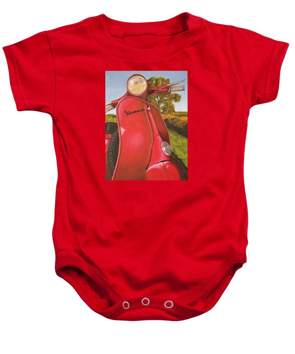 Scooter Baby Onesie featuring the painting 1963 Vespa 50 by Rob De Vries