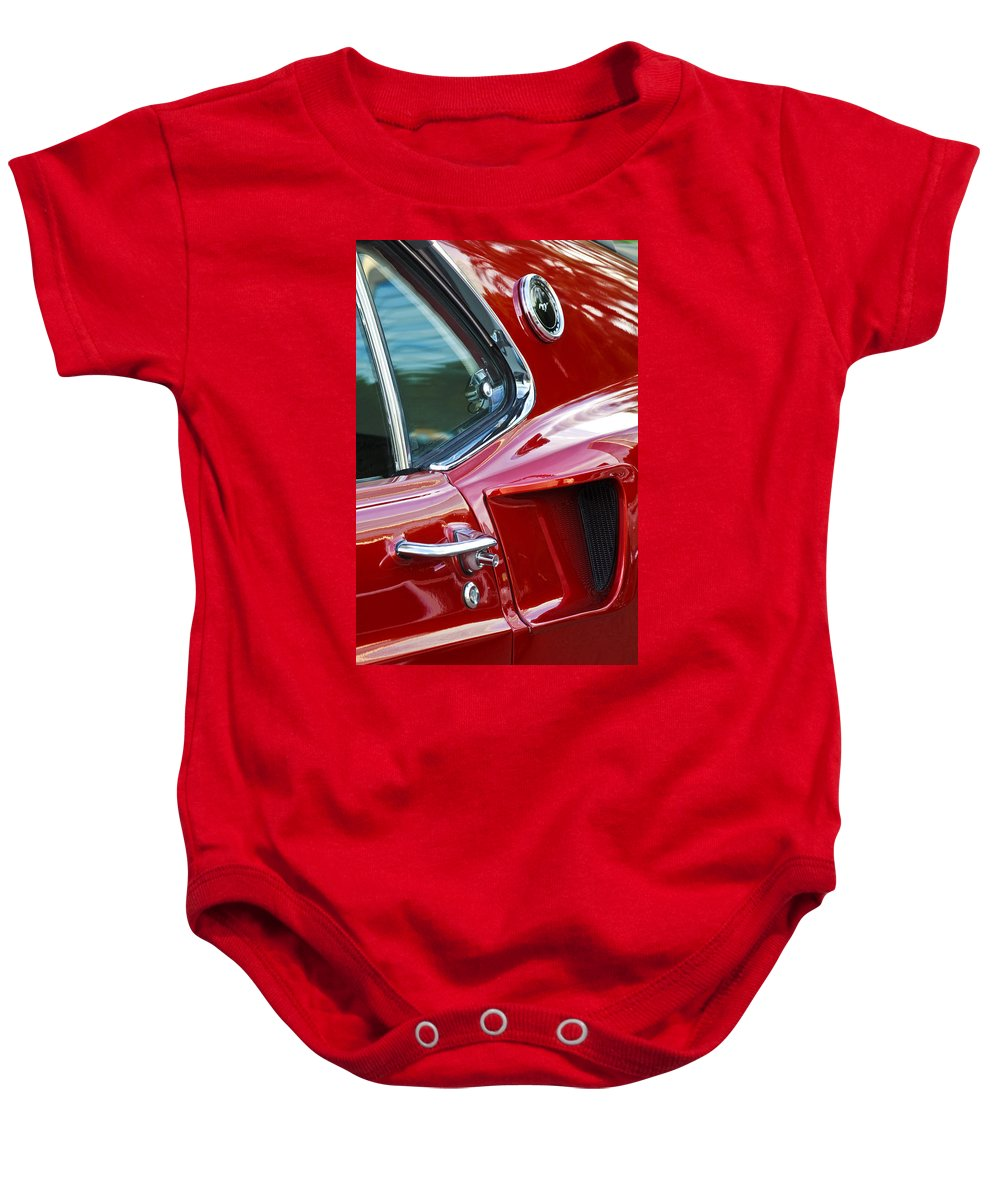 1969 Ford Mustang Mach 1 Baby Onesie featuring the photograph 1969 Ford Mustang Mach 1 Side Scoop by Jill Reger