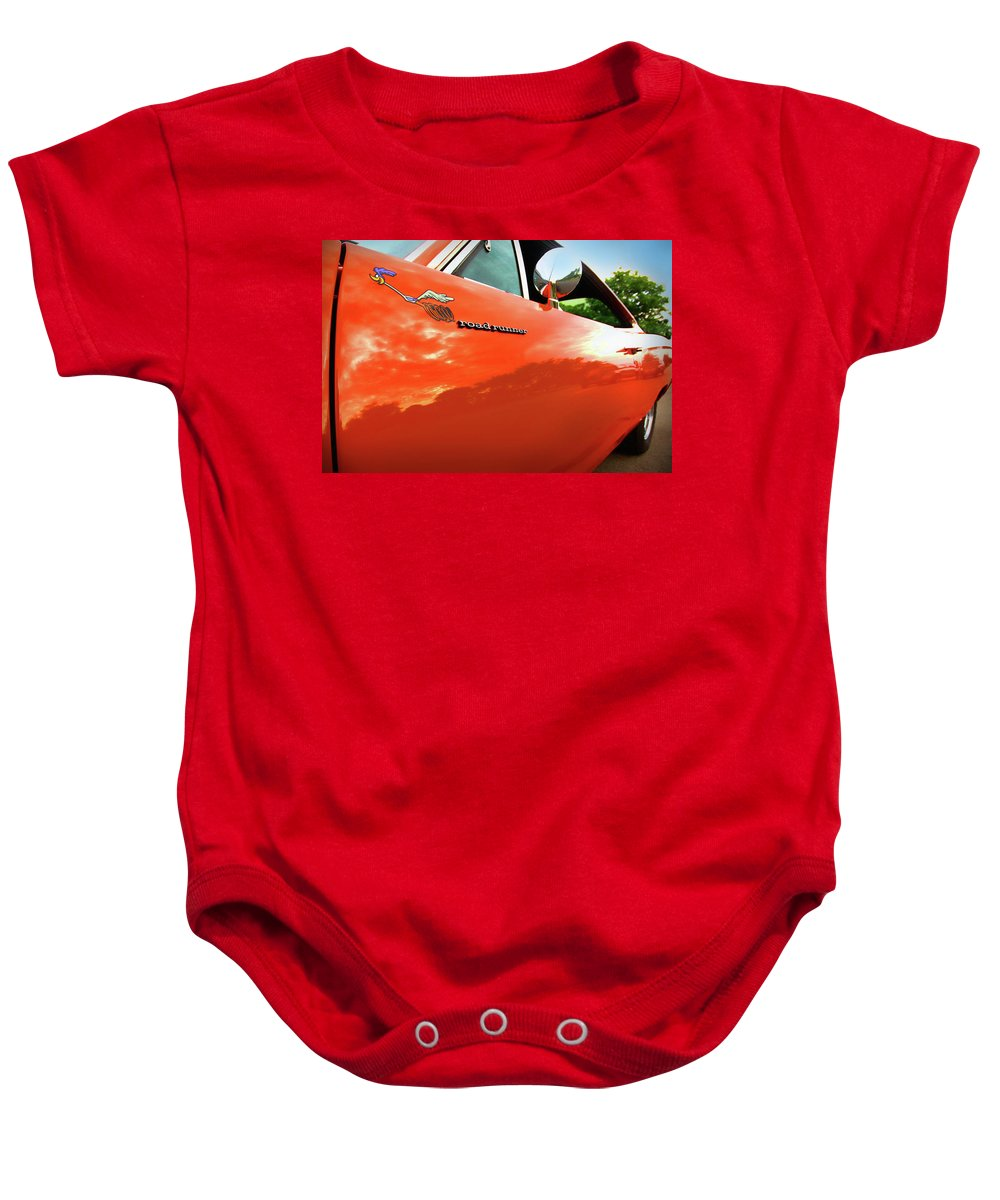 1969 Baby Onesie featuring the photograph 1969 Plymouth Road Runner 440 Roadrunner by Gordon Dean II