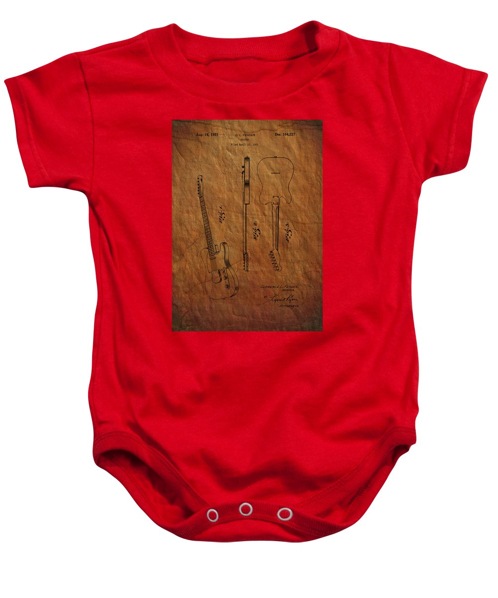 Fender Baby Onesie featuring the photograph Fender Guitar Patent From 1951 by Chris Smith