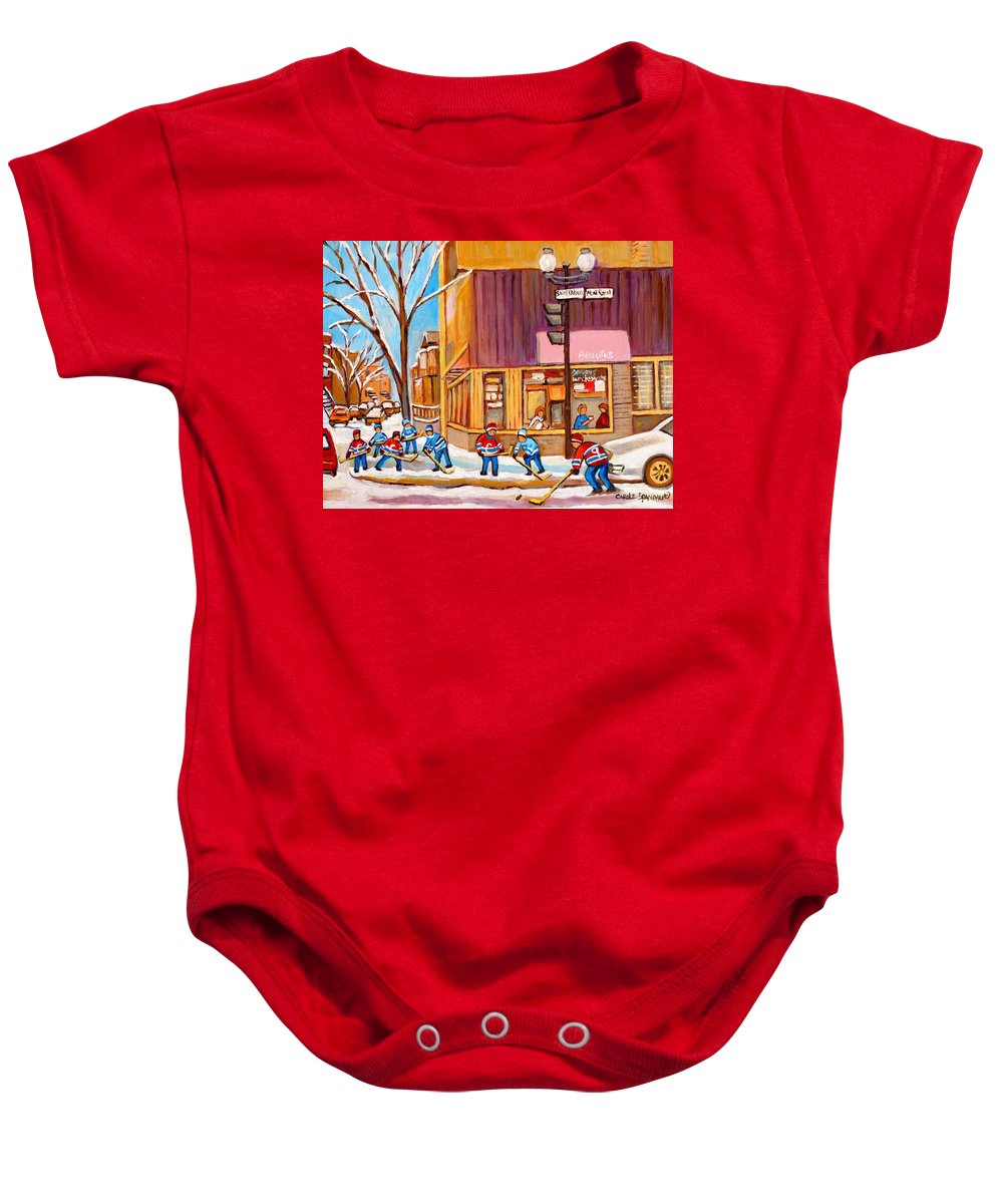Montreal Paintings Baby Onesie featuring the painting Montreal Paintings by Carole Spandau