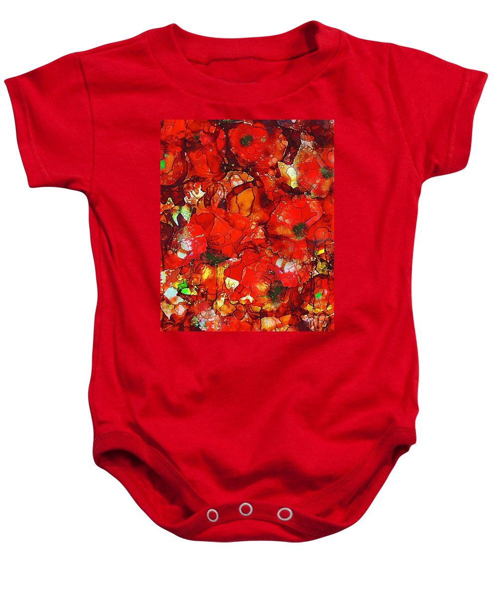 Abstract Baby Onesie featuring the painting Poppies by Klara Acel