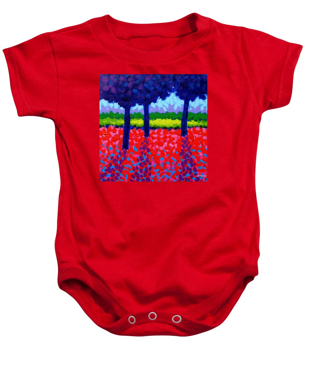 Trees Baby Onesie featuring the painting Shadow Trees by John Nolan