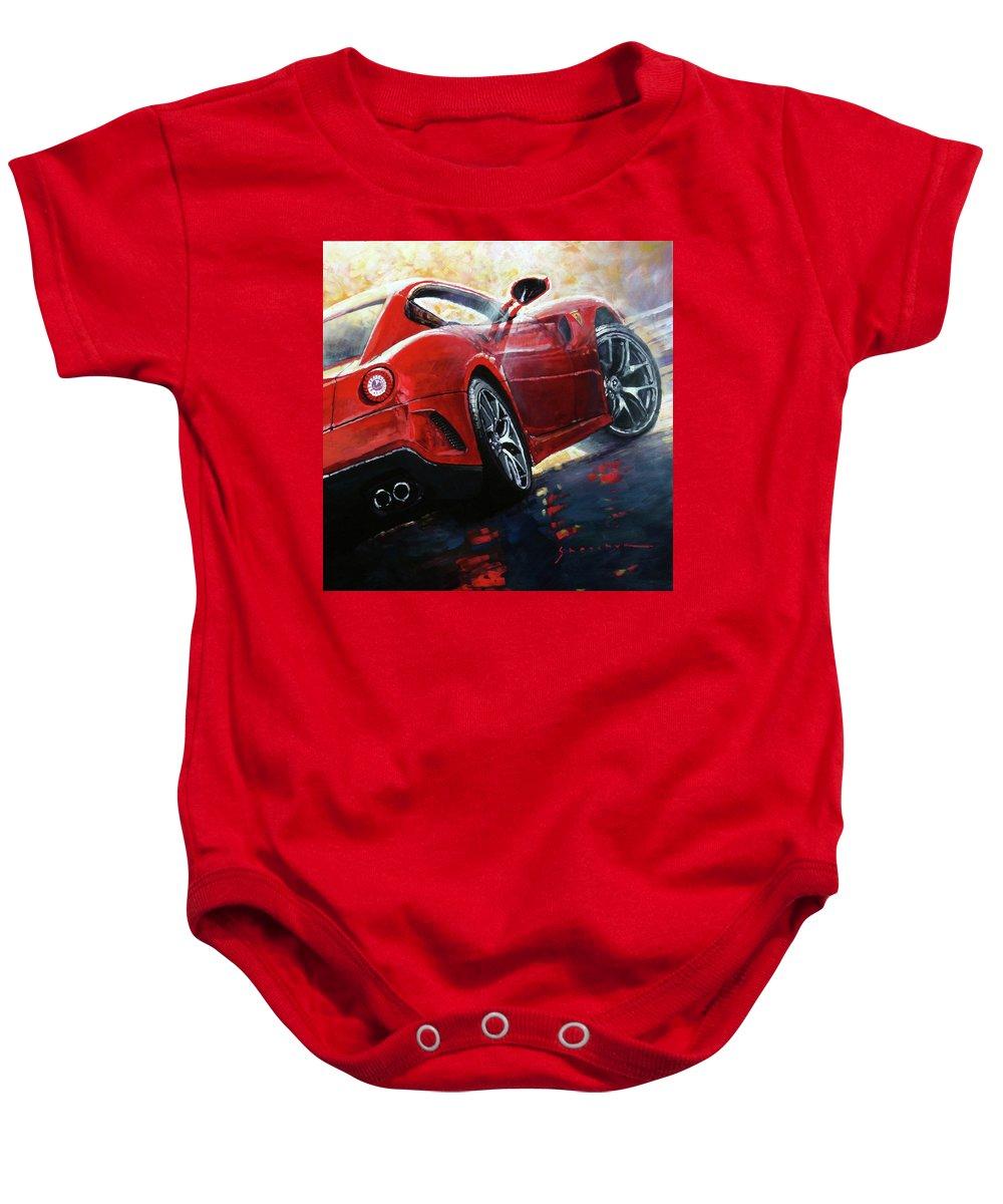 Oil Baby Onesie featuring the painting 2015 Ferrari 599 Gtb Fiorano by Yuriy Shevchuk