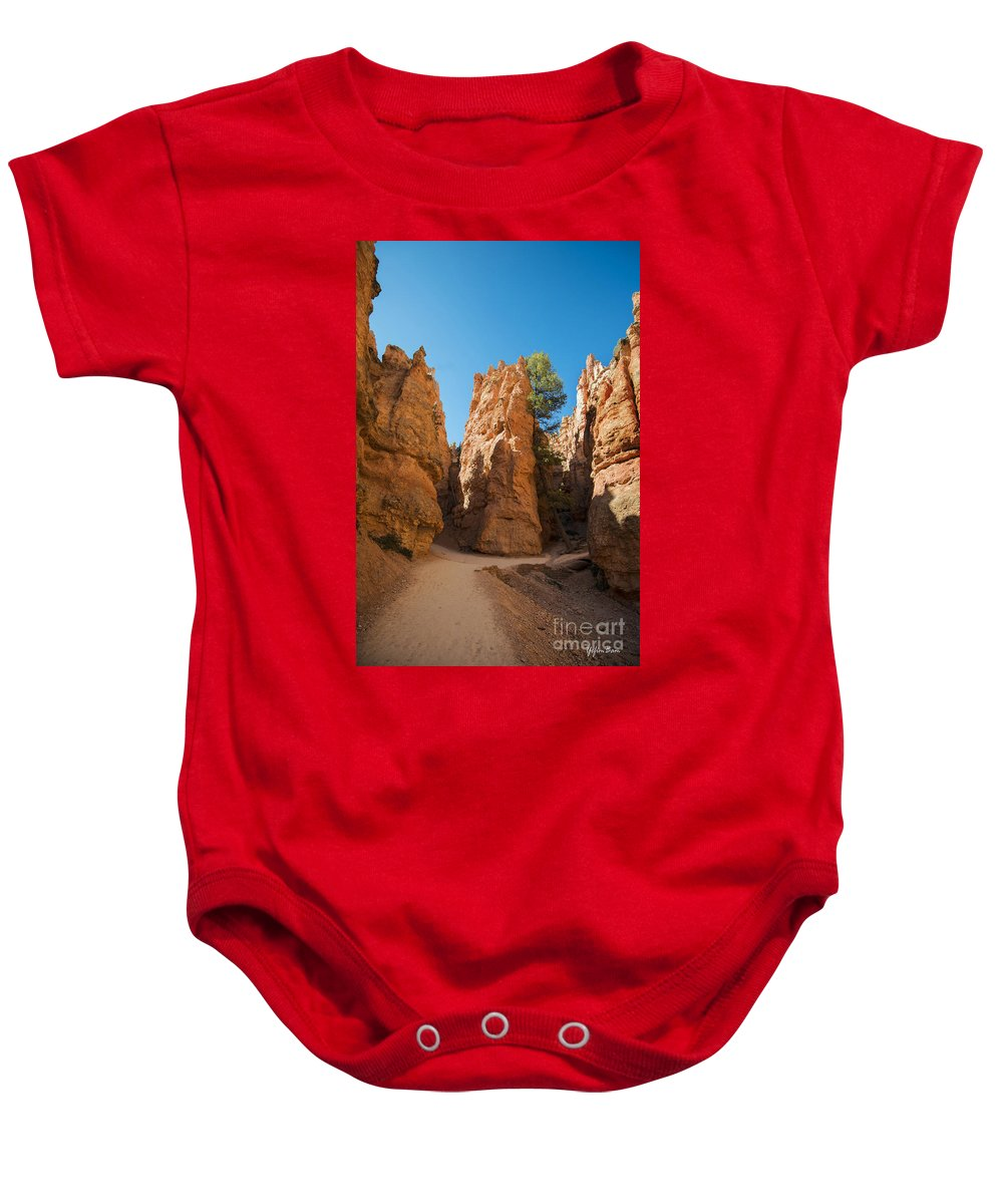 Hoodoos On Navajo Trail Baby Onesie featuring the photograph Spires On Navajo Trail by Yefim Bam