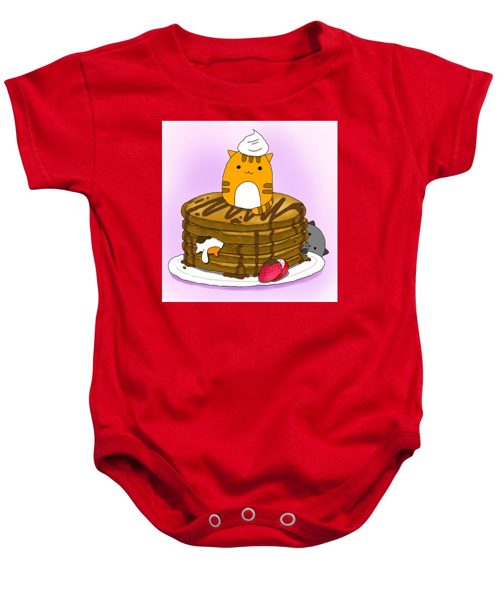 Cat Baby Onesie featuring the digital art Cat In Food by Lai Ann Key