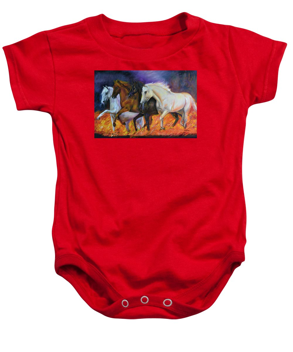 Horse Baby Onesie featuring the painting 4 Horses Of The Apocalypse by Olga Kaczmar