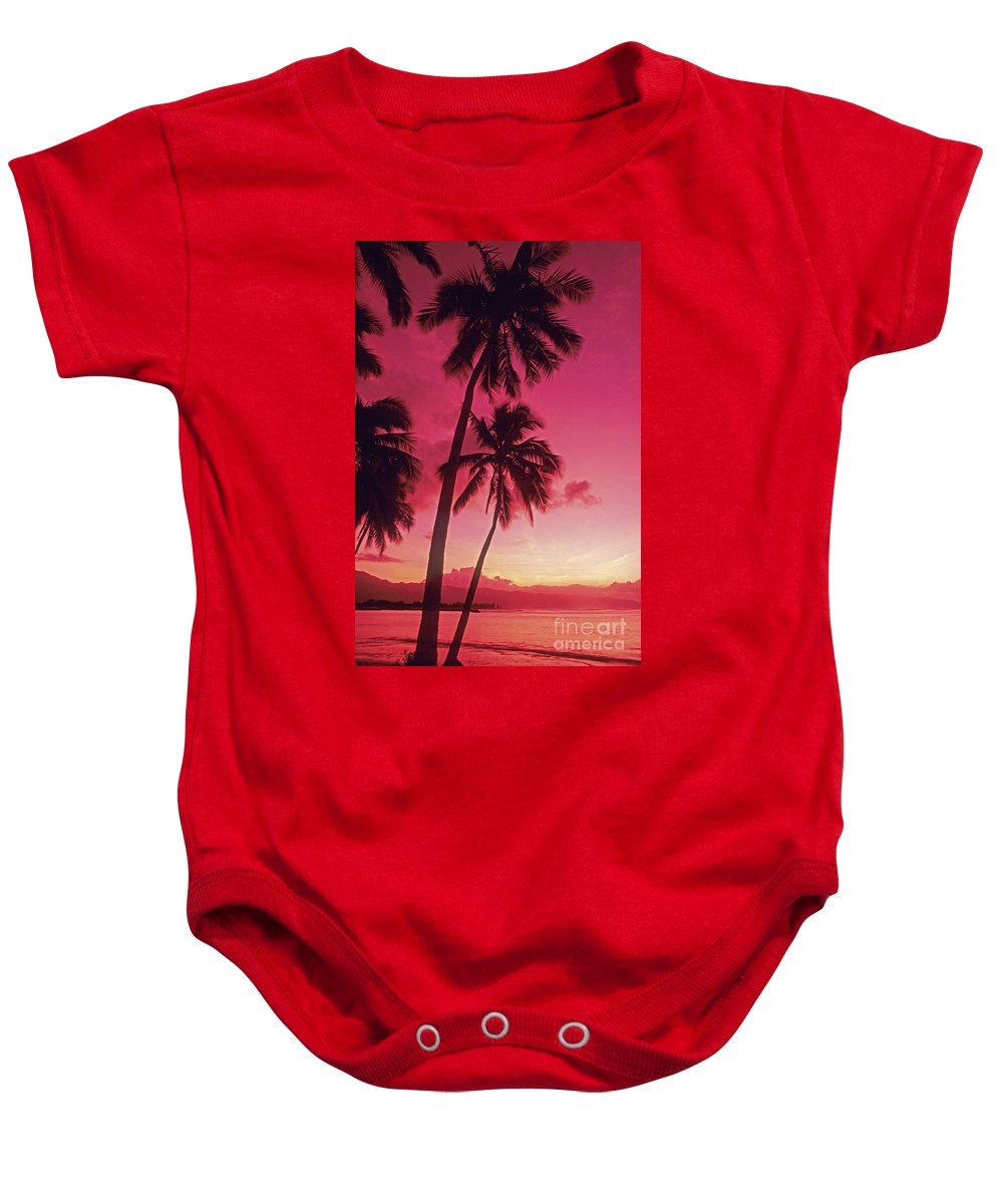 Beautiful Baby Onesie featuring the photograph Palms Against Pink Sunset by Carl Shaneff - Printscapes
