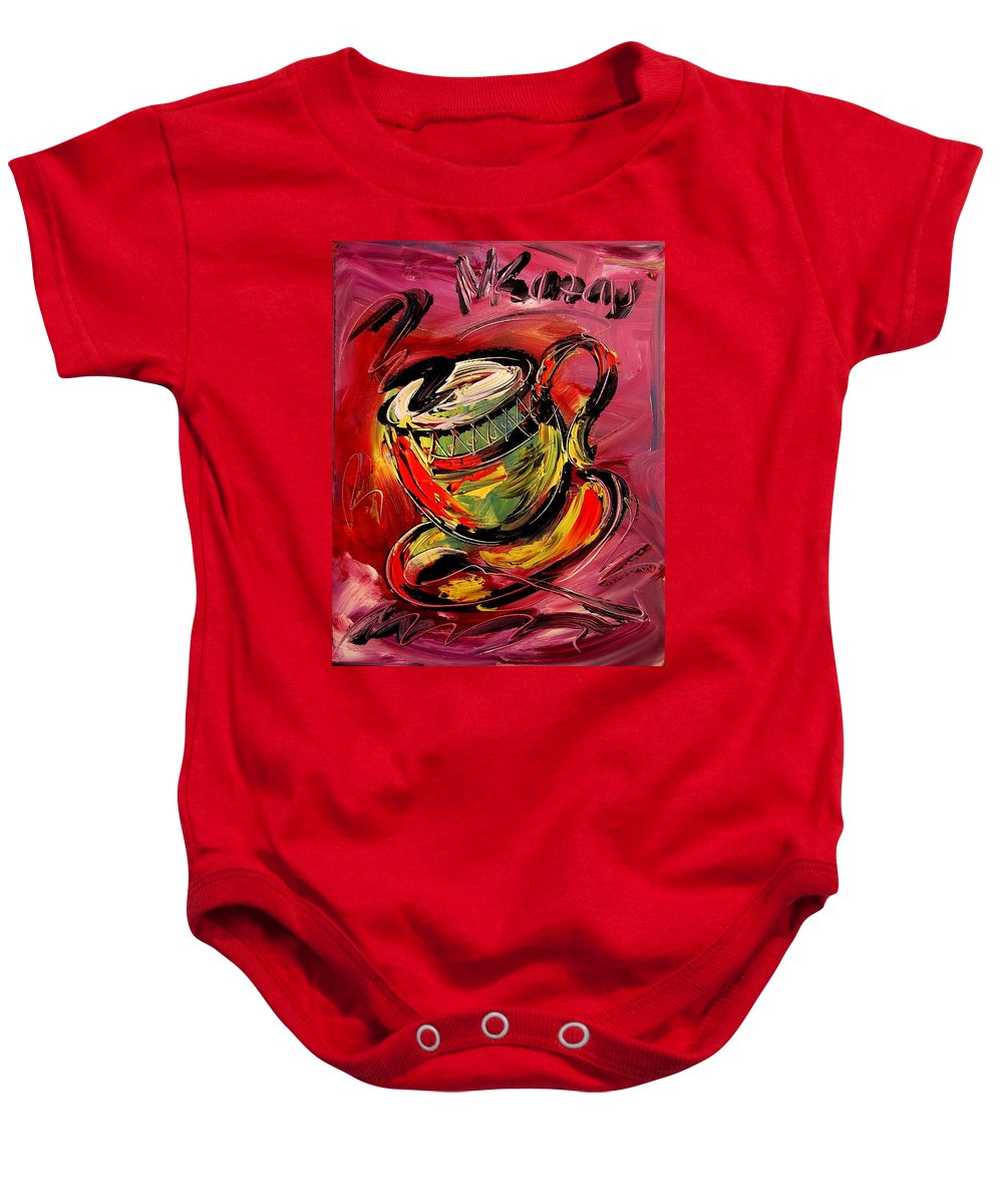 Impressionist Framed Prints Baby Onesie featuring the mixed media Coffee by Mark Kazav