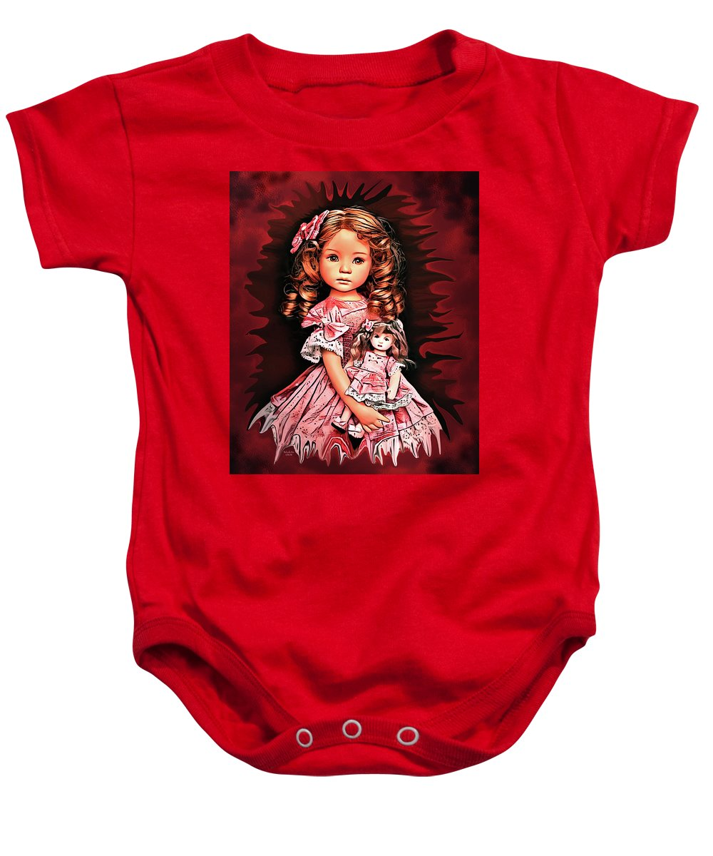 Digital Art Baby Onesie featuring the digital art Baby Doll Collection by Artful Oasis