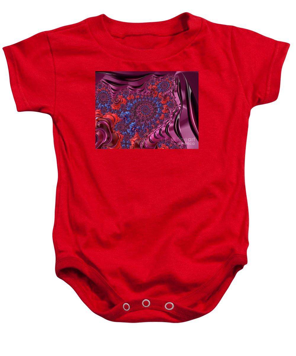 Fractal Baby Onesie featuring the digital art Fractal, Pattern, Kaleidoscope, Art by Raphael Terra