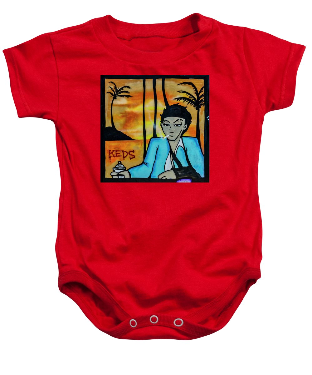 Florida Baby Onesie featuring the photograph 8303-2- Little Havana Mural by David Lange