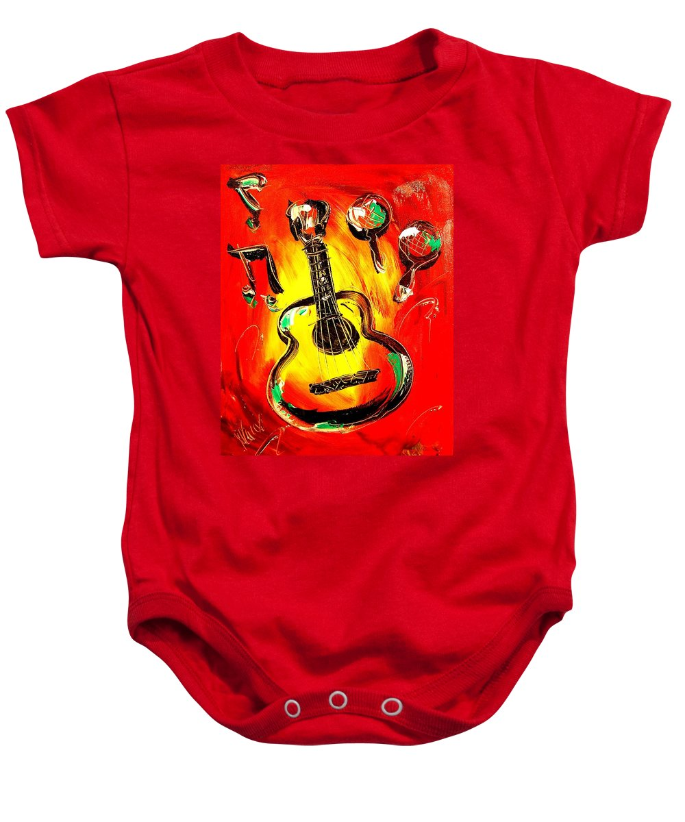 Impressionist Framed Prints Baby Onesie featuring the mixed media Guitar by Mark Kazav