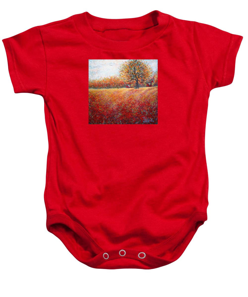 Autumn Landscape Baby Onesie featuring the painting A Beautiful Autumn Day by Natalie Holland