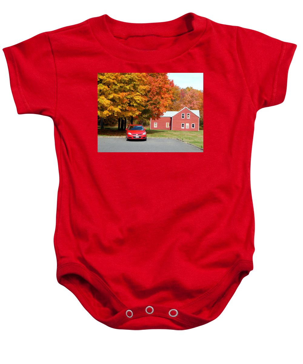 A Beautiful Country Building In The Fall Baby Onesie featuring the painting A Beautiful Country Building In The Fall 4 by Jeelan Clark