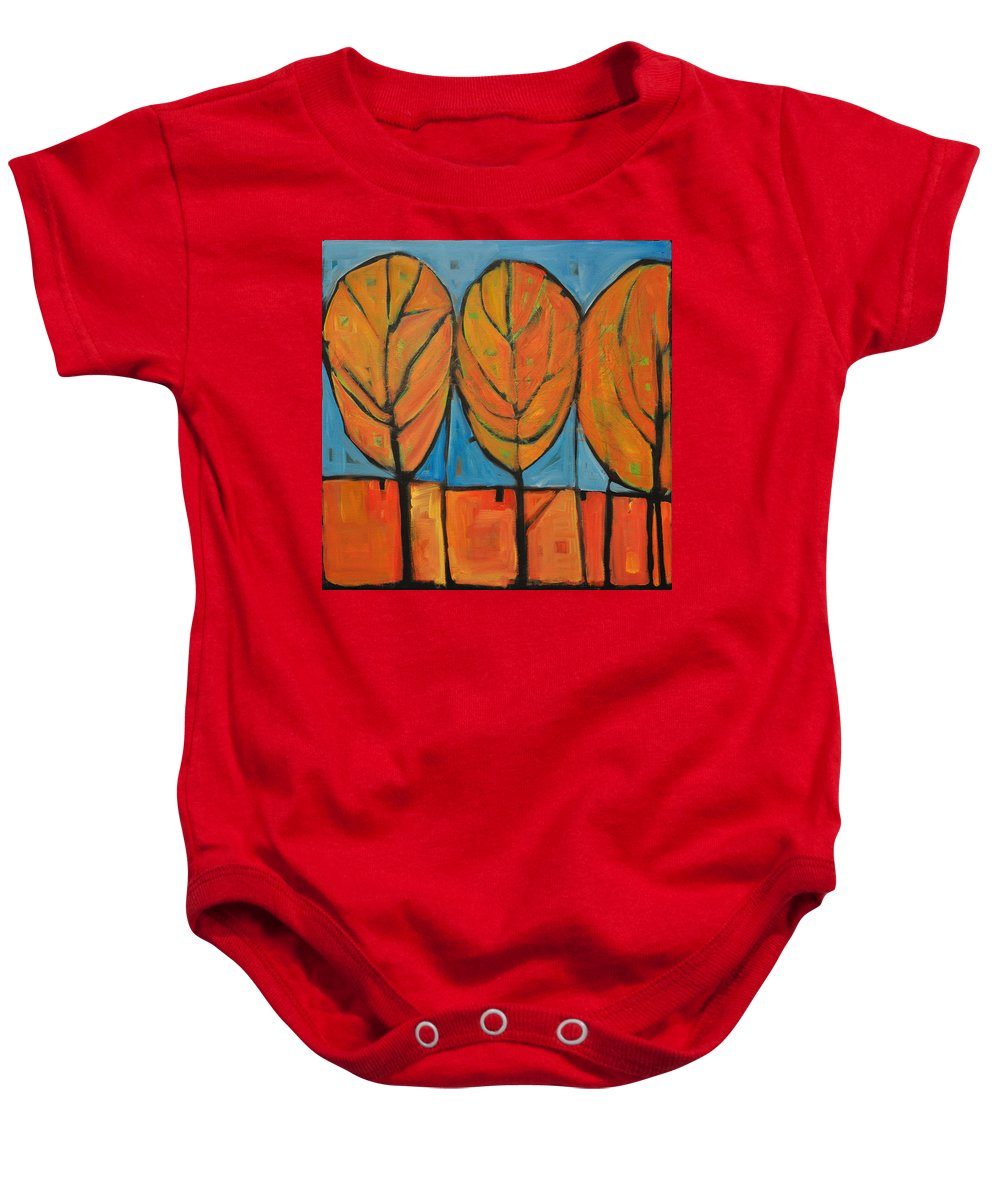 Fall Baby Onesie featuring the painting A Change Of Seasons by Tim Nyberg