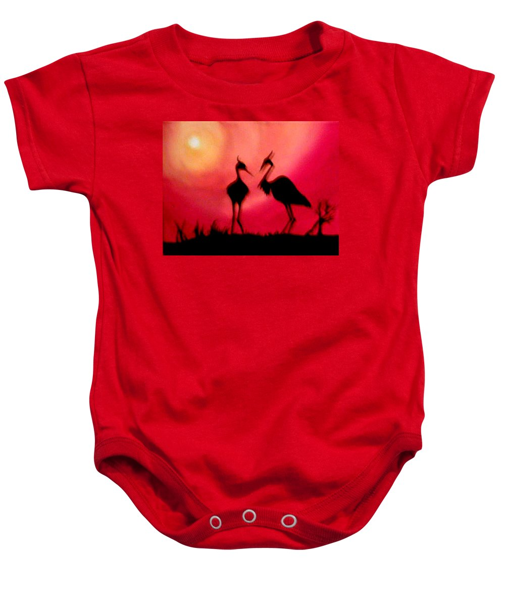 Swans Baby Onesie featuring the painting A Conversation by Glory Fraulein Wolfe