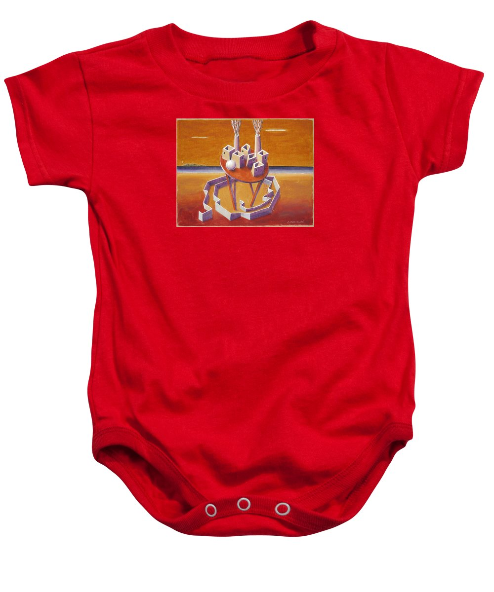 Metaphysical Symbolic Sureal Surrealist Greece Greek Landscape Factory Architecture Seascape Ball Baby Onesie featuring the painting A Peasents Dream by Dimitris Milionis