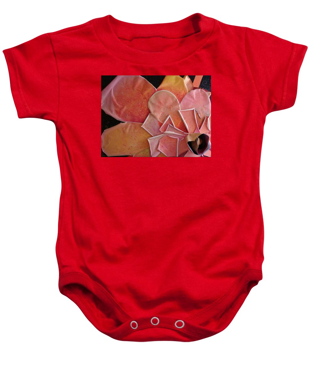 Sculptural Baby Onesie featuring the painting A Pink Experience by Helena Tiainen
