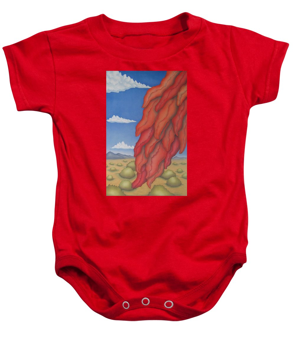 Southwest Baby Onesie featuring the painting A Ristra On A Breeze by Jeniffer Stapher-Thomas