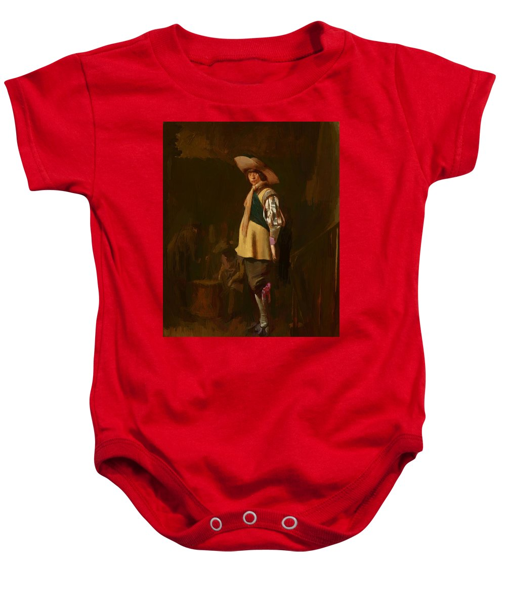 A Baby Onesie featuring the painting A Standing Officer by Duyster Willem Cornelisz