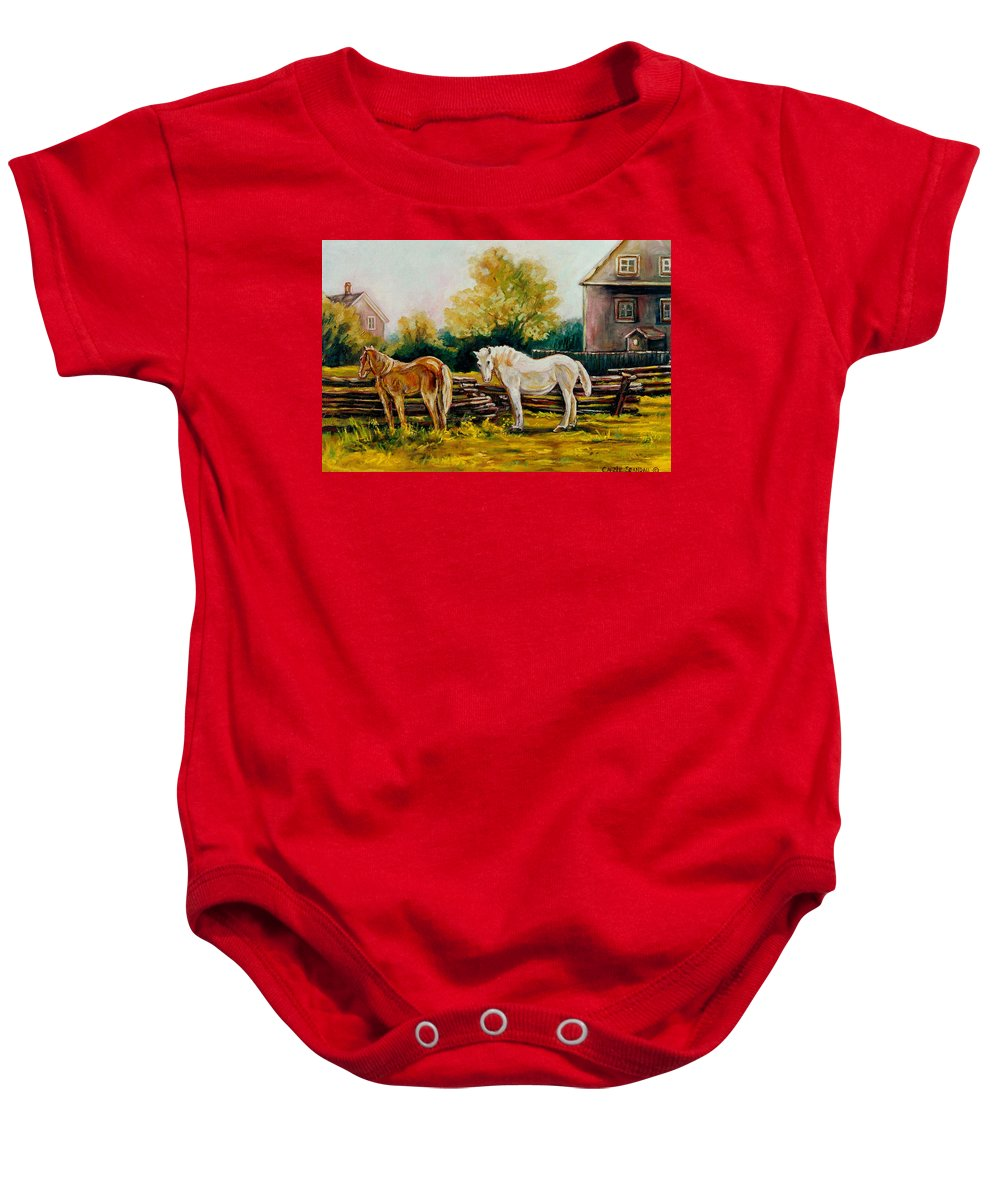 Horses Baby Onesie featuring the painting A Wonderful Life by Carole Spandau