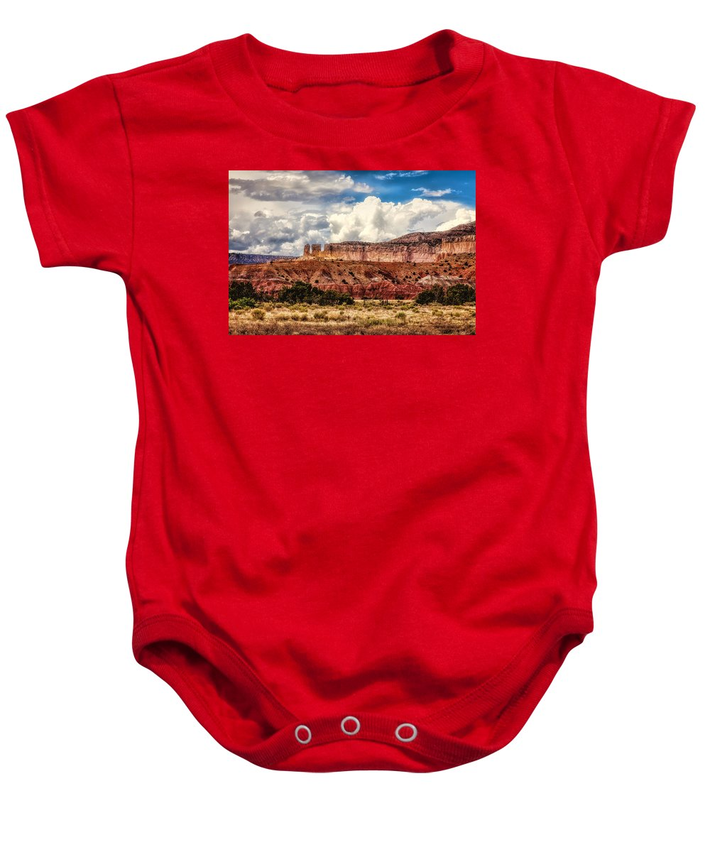 Abiquiu Baby Onesie featuring the photograph Abiquiu Landscape by Diana Powell