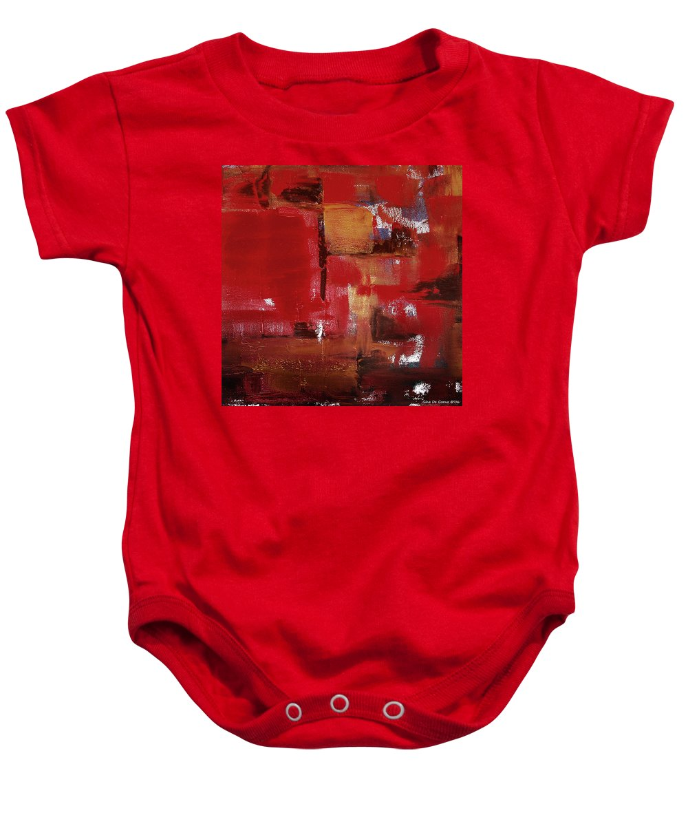 Abstract Baby Onesie featuring the painting Abstract In Red by Gina De Gorna