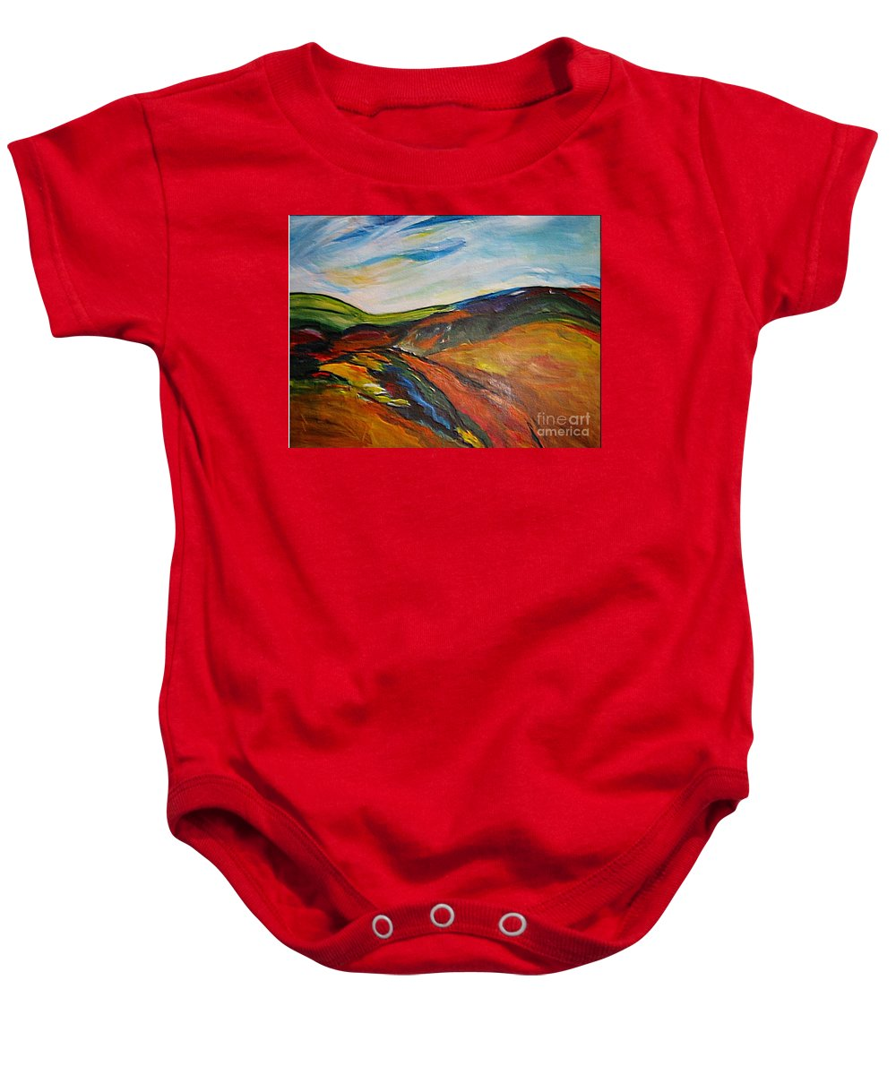 Hills Baby Onesie featuring the painting abstract landscape-Haloze by Dragica Micki Fortuna