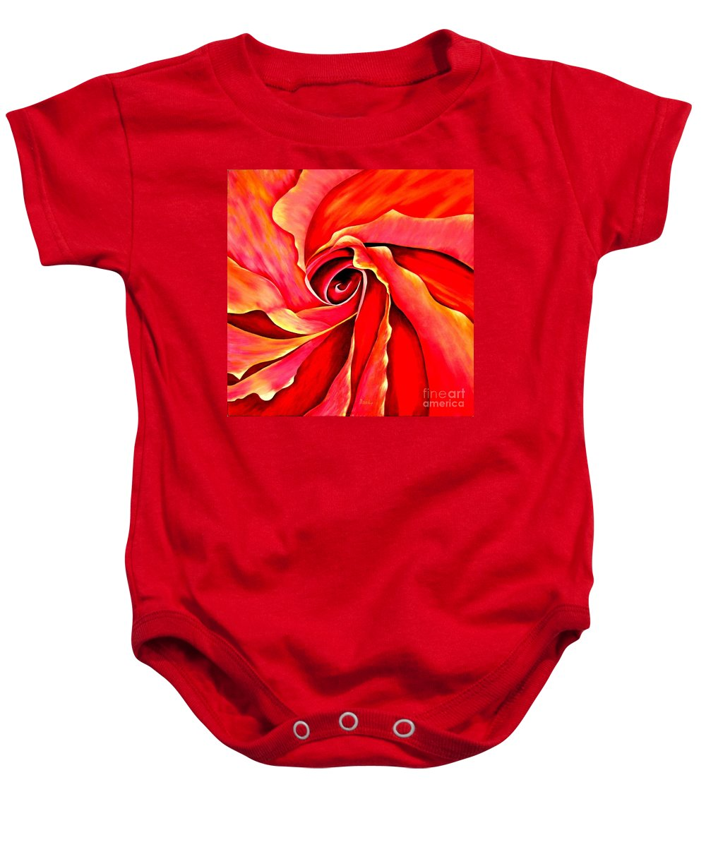 Mary Deal Baby Onesie featuring the painting Abstract Rosebud Fire Orange by Mary Deal