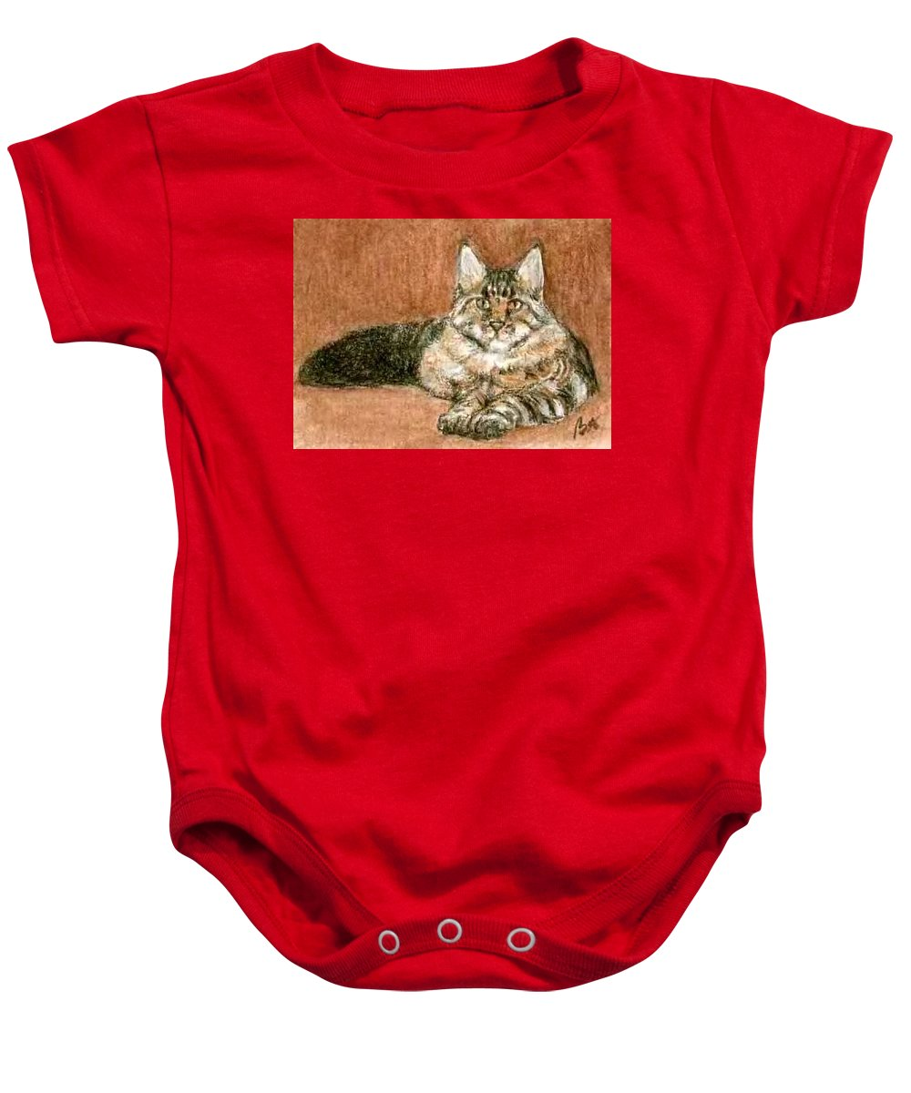 Aceo Cat Maine Coon Bruce Lennon Art Baby Onesie featuring the painting Aceo Maine Coon Cat by Bruce Lennon