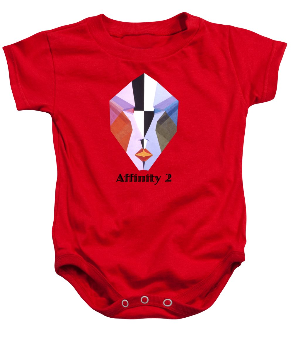 Painting Baby Onesie featuring the painting Affinity 2 text by Michael Bellon