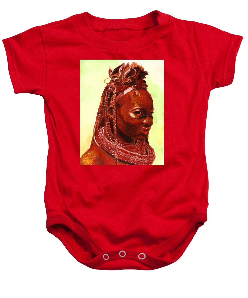 People Portrait Baby Onesie featuring the painting African Beauty by Portraits By NC